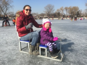 Chair-skating--mom and daughter