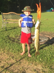 Yes, my six-year-old caught this 26-inch pike himself.