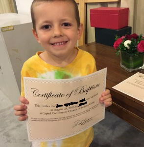 Son with Baptism Certificate