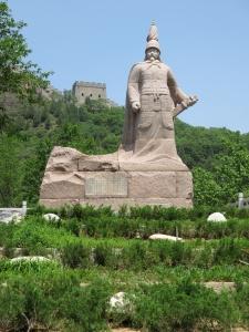 Statue at wall entrance